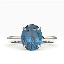 3.50 CTW London Blue Topaz Designer Solitaire Ring 18K White Gold - REF-36T2M - 22069