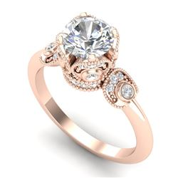 1.75 CTW VS/SI Diamond Solitaire Art Deco Ring 18K Rose Gold - REF-398H2A - 36855
