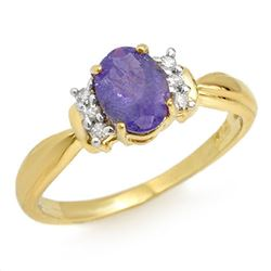1.0 CTW Tanzanite & Diamond Ring 14K Yellow Gold - REF-32T2M - 13855