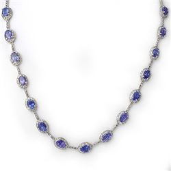 25.0 CTW Tanzanite & Diamond Necklace 14K White Gold - REF-318X8T - 10269