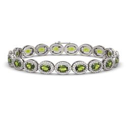 13.87 CTW Tourmaline & Diamond Halo Bracelet 10K White Gold - REF-271H6A - 40472