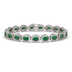 15.2 CTW Emerald & Diamond Halo Bracelet 10K White Gold - REF-255A3X - 40451