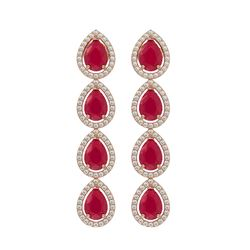 10.2 CTW Ruby & Diamond Halo Earrings 10K Rose Gold - REF-155Y5K - 41142