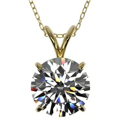 2 CTW Certified H-SI/I Quality Diamond Solitaire Necklace 10K Yellow Gold - REF-585H2A - 33232
