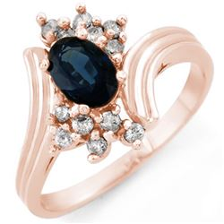 1.0 CTW Blue Sapphire & Diamond Ring 14K Rose Gold - REF-34F9N - 10436