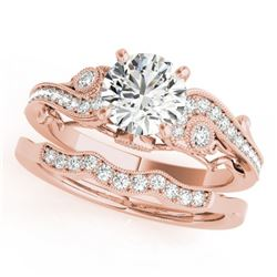 1.57 CTW Certified VS/SI Diamond Solitaire 2Pc Wedding Set Antique 14K Rose Gold - REF-492A8X - 3156