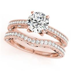 1.52 CTW Certified VS/SI Diamond Solitaire 2Pc Wedding Set Antique 14K Rose Gold - REF-398W8F - 3152