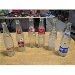 6 Pop bottles Drewery, Mission, Stubby, Nesbett, Royal C rown, diet rite cola