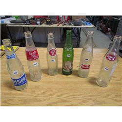 6 Pop bottles, Mission, diet rite Cola, Royal Crown, Drewerys (green), Stubby, Double Cola