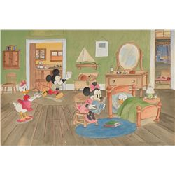 Mickey and Minnie Mouse and Donald and Daisy Duck watercolor concept painting by Frank Follmer from