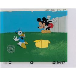 Mickey Mouse and Donald Duck production cels from a Disney Channel intro