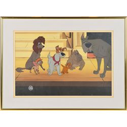 Oliver, Dodger, Tito, Rita, Francis, and Einstein production cel from Oliver & Company