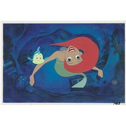Ariel and Flounder production cels from The Little Mermaid