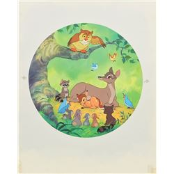 Bambi, Bambi's mother, Friend Owl, and others watercolor painting for a Disney collector's plate