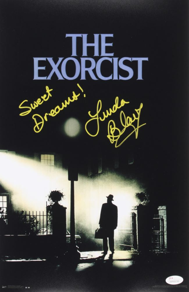 linda blair signed the exorcist 11x17 movie poster inscribed