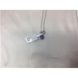 White Gold Tanzanite Diamond (0.18ct) Pendant Necklace - Retail $1,800