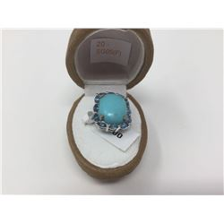 Natural Topaz (London Blue) StabilizedTurquoise (1.00ct) Ring - Replacement Value $1,233