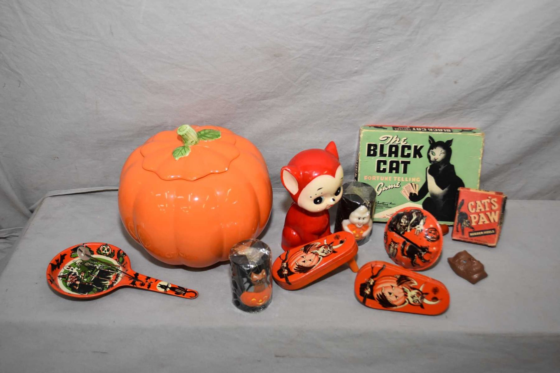 image 1 selection of vintage halloween collectibles including noise makers cat piggy bank