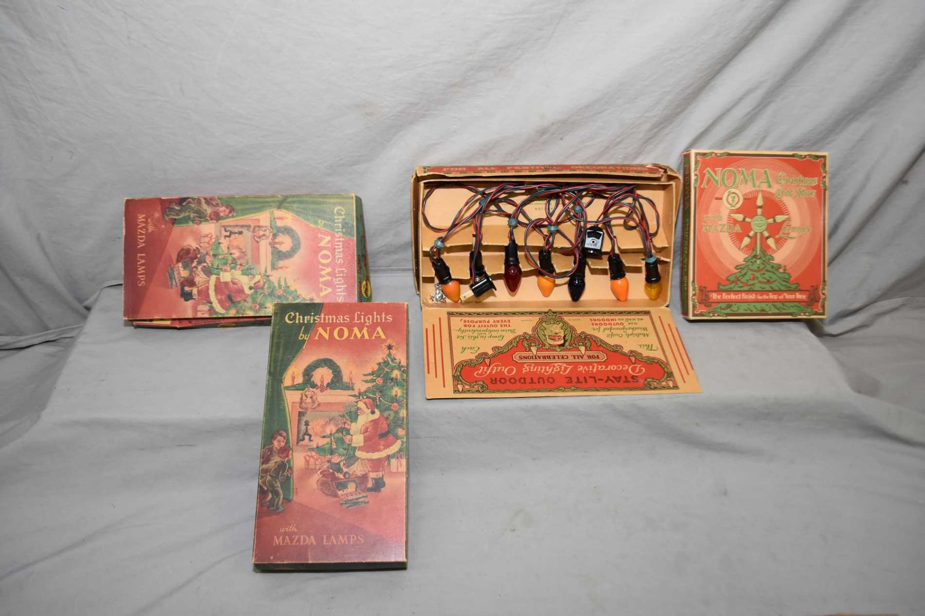 Selection of vintage Noma Christmas lights in original boxes and a ...