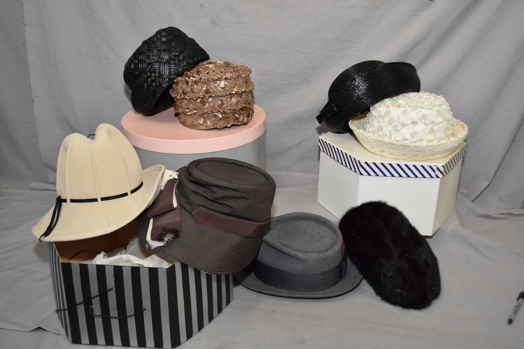 Image 1   A selection of vintage men s and lady s hats including Mr. John Jr 30103401245