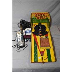 Vintage Tin Table Top Skee Ball Game, Two Vintage Kodiak Cameras,  Magnajector Projector, Trench Art