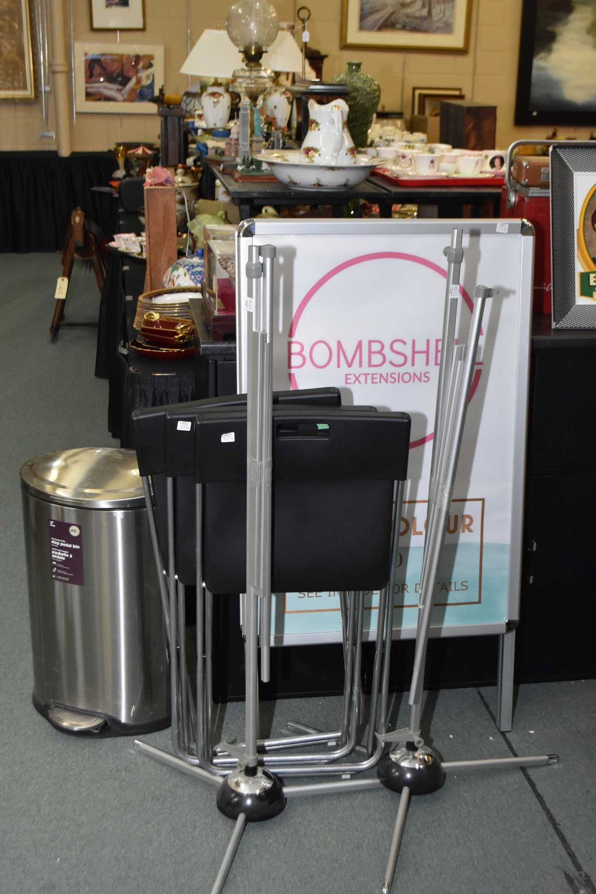 Selection Of Hair Salon Items Including Garbage Can Three Folding