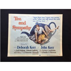 """1950 """"TEA AND SYMPATHY"""" LOBBY TITLE CARD, #1 IN SET, SIGNED BY DEBORAH KERR"""