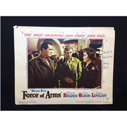 """1951 """"FORCE OF ARMS"""" LOBBY SCENE CARD, #3 IN SET, SIGNED BY NANCY OLSON"""