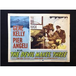 """1952 """"THE DEVIL MAKES THREE"""" LOBBY SCENE CARD, #8 IN SET, SIGNED BY GENE KELLY"""