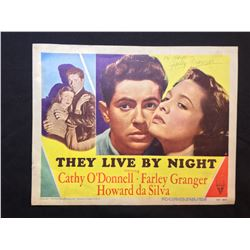 """1948 """"THEY LIVE BY NIGHT"""" LOBBY TITLE CARD, #4 IN SET, SIGNED BY FARLEY GRANGER"""