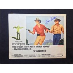 """1966 """"NEVADA SMITH"""" LOBBY SCENE CARD, #1 IN SET, SIGNED BY BRIAN KEITH"""