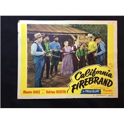 """1948 """"CALIFORNIA FIREBRAND"""" LOBBY SCENE CARD, #8 IN SET, SIGNED BY ADRIAN BOOTH"""