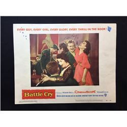 """1955 """"BATTLE CRY"""" LOBBY SCENE CARD, #3 IN SET, SIGNED BY ALDO RAY"""