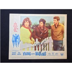 """1964 """"YOUNG AND WILLING"""" LOBBY SCENE CARD #6 IN SET, SIGNED BY SAMANTHA EGGAR"""