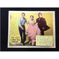 """1948 """"THE MAN FROM COLORADO"""" LOBBY SCENE CARD, #3 IN SET, SIGNED BY ELLEN DREW, WITH HANDWRITTEN"""