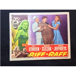 """1947 """"RIFF-RAFF"""" LOBBY SCENE CARD, #3 IN SET, SIGNED BY ANNE JEFFREYS, WITH HANDWRITTEN NOTE BY"""