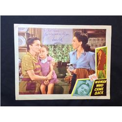 """1945 """"WOMAN WHO CAME BACK"""" LOBBY SCENE CARD, SIGNED BY NANCY KELLY"""