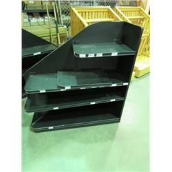 "BLACK LAMINATE SHELVING UNIT 4 TIERS, LEFT SIDE, 4X4X14"" ON WHEELS"