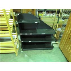 "BLACK LAMINATE SHELVING UNIT 4 TIERS, RIGHT SIDE, 4X4X14"" ON WHEELS"