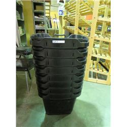 8 BLACK SHOPPING BASKETS W/WHEELS