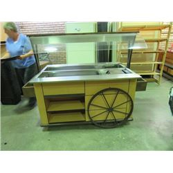 "DELI SALAD BAR WITH SNEEZE GUARD AND HOOD, METLA FRAME ON WHEELS 4'8""X3'4""X6'W"