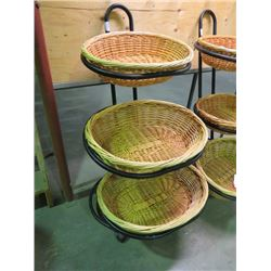 "3 TIER WICKER BASKET PRODUCT MERCHANDISING STAND, METAL FRAME 4'6""H"