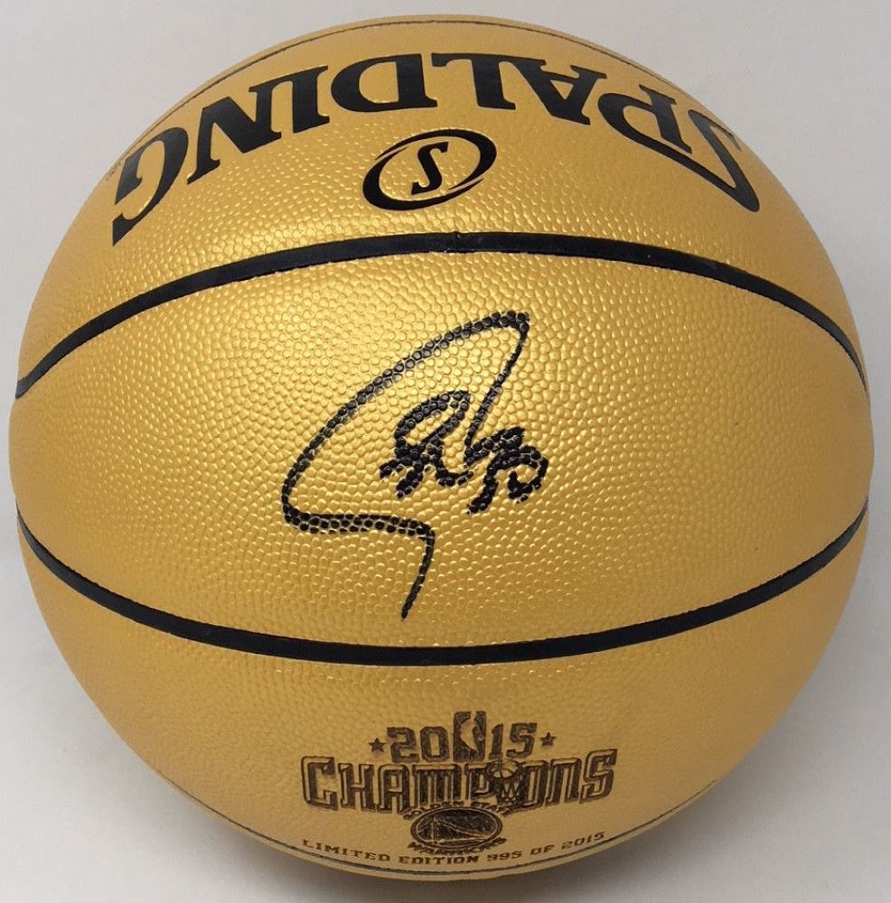 pretty nice 346ff a5986 Stephen Curry Signed 2015 NBA Champions Basketball ...
