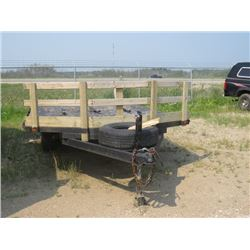 """14' Tandem - sled or RV trailer c/w ramp, 15"""" tires, subject to redemption"""