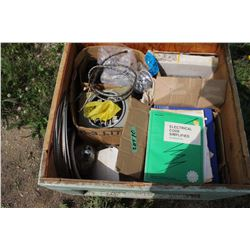 Wooden Box full of Electrical Supplies