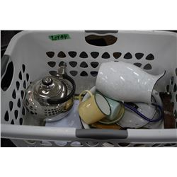 Laundry Basket w/Enamelware, Sm. Kettle & New Door Chime
