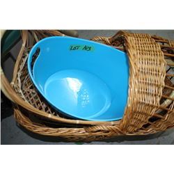 2 Wicker Baskets; Whistle Kettle & Blue Container
