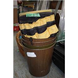 4 Metal Waste Baskets & a Tool pouch
