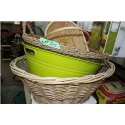 3 Wicker Baskets & a Metal Basket