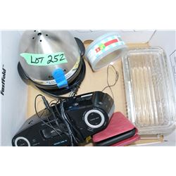 Box w/Cuisinart Egg Cooker, Clock Radio, Anchor Hocking Dish/Lid, Wallet & Cookie Cutters